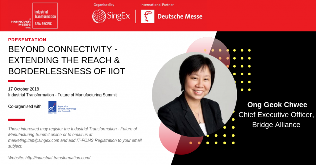 Ong Geok Chwee presenting on Beyond Connectivity - Extending the Reach & Borderlessness of IIoT
